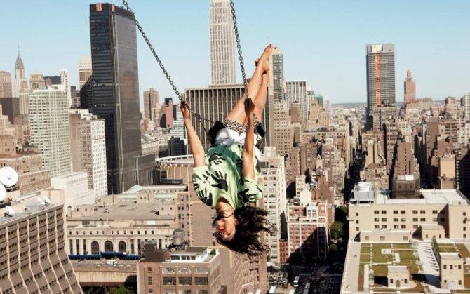 city girl on swing