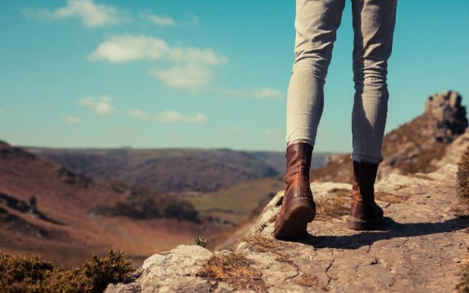 woman hiking in boots