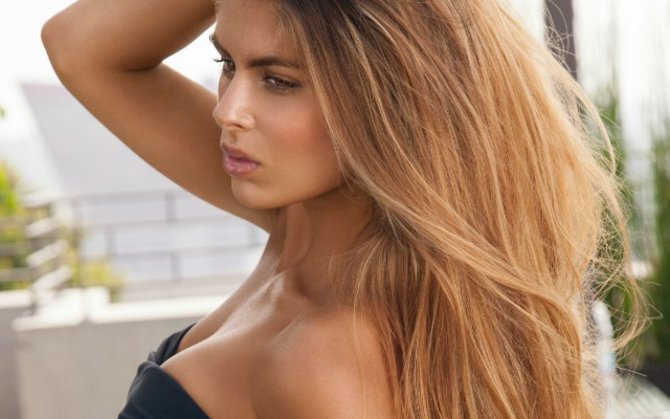 girl with long hair and tan
