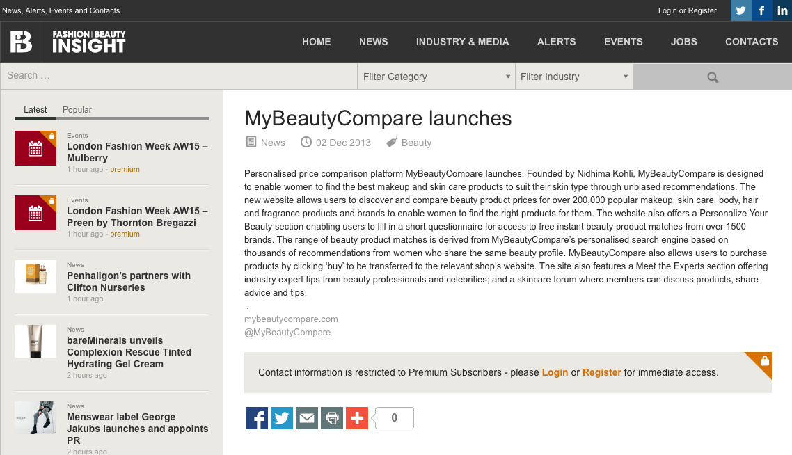 MyBeautyCompare Launches Clipping