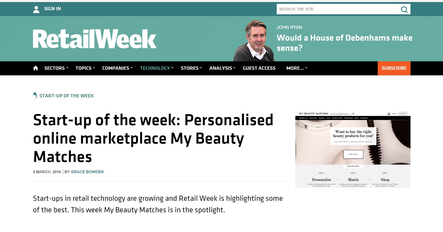 RetailWeek - Start Up Of The Week Spotlight Clipping